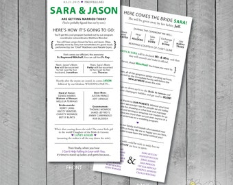Customizable Double-Sided Fun Wedding program