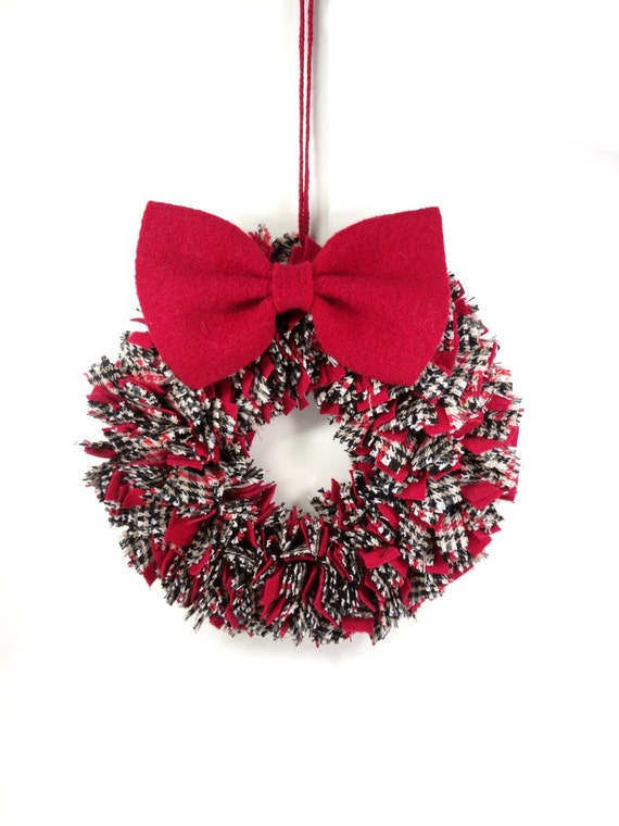 Red White Black Rag Wreath Plaid Proddy Wreath Detachable Bow