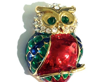 Rhinestone Owl Brooch, Enamel Owl Brooch, Animal Brooch