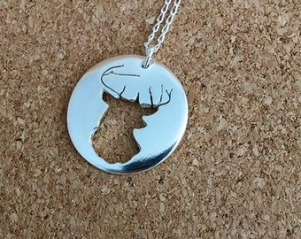 Stag necklace, Stag Jewellery, Silver Necklace, Deer necklace, Deer Pendant