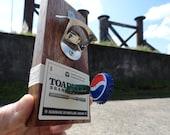 A tropical hardwood magnetic bottle opener
