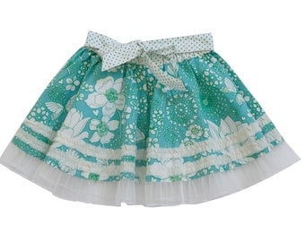 Summer Sale,sale 10%,Toddler Twirl skirt,Girl Summer Skirt,Aquamarine Skirt,READY TO SHIP