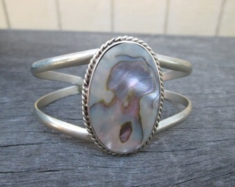 Vintage Sterling Silver Mother Of Pearl Alpaca Cuff Bracelet