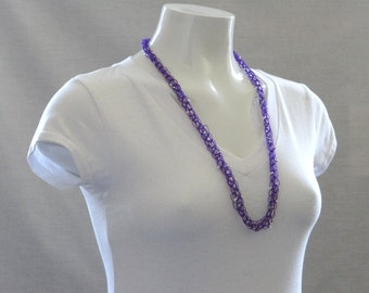 Purple Necklace Purple Beaded Necklace Purple Knitted Beaded Necklace Purple Knitted Beaded Necklet For Her Necklace For Teen Necklace