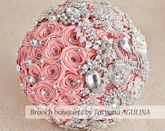 Brooch bouquet. Coral and silver wedding brooch bouquet, Jeweled Bouquet. Made upon request