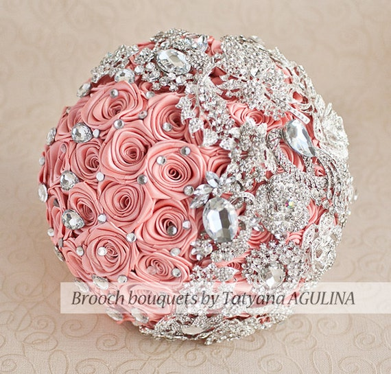 Coral and silver brooch bouquet
