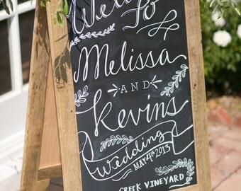 Large Double-Sided A-Board Chalkboard Easel Sidewalk A-Frame for Bistro, Wedding, Seating Chart, Menu Specials, Coffee Bar, Sandwich Board