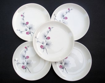 Canonsburg Steubenville  Wild Clover Pattern - Hard to Find Size Salad Plates  - 1960s - Set of 4 (2 sets available)