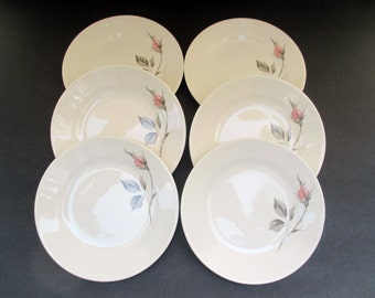 Edwin Knowles Dawn Rose Pattern - Designed by Erwin Kalla - Set of 6 Bread and Butter Plates