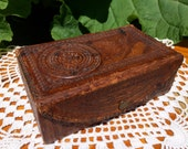 1950s Aztec Mexico Leather Hand-Tooled Small Box