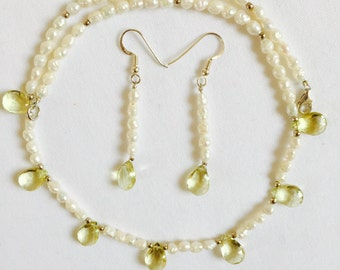 "Lemon Quartz and Fresh Water Pearls with Sterling Silver Beads Necklace (16"") and Earrings (2"")"