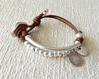 Leather jewelry, bracelet gift, gift for women, beaded bracelet, gifts for her, ladies bracelet, bracelets for women