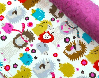 Hedgehog Meadow Baby Blanket-Woodland Blanket-Baby-Baby Girl-Minky Blanket