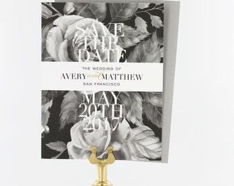 Save the Date, Save the Date Wedding Cards, Modern Wedding, Black and White Roses - Avery Save the Date Card