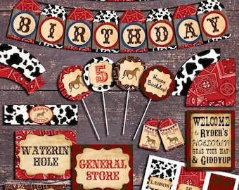 Western Theme Party, Printable Western Party Decorations, Western Party,  Cowboy Party, Horse Party Decorations, Western Theme Birthday