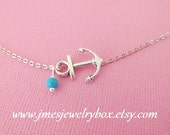 Silver anchor anklet with turquoise bead (adjustable)