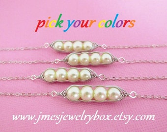 Four peas in a pod bracelet set - Choose your colors! Made to order
