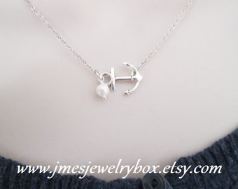 Silver anchor necklace with freshwater pearl