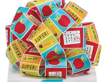 """Teacher Ribbon  wired satin fabric with apples, pencils, crayons, graded papers, and """"SUPER!"""" separated by different colored blocks."""