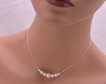 Sterling Silver Pearl Necklace, Pearl Bridal Necklace, Wedding Necklace, Bridesmaid Necklace, Real Silver 0305