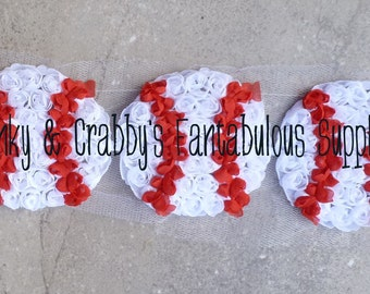 Chiffon Rosette Baseball Applique - Use on T-shirts, headbands, much more!