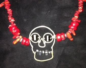 Bronze skull necklace