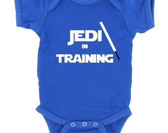 JEDI in TRAINING star wars one piece bodysuit or tshirt cute funny adorable baby shower