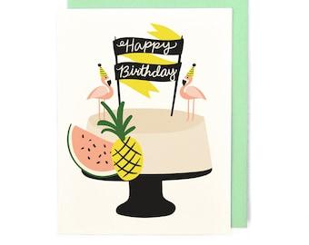 Flamingo Cake Card