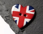Ceramic Button Large Heart Shape With Union Jack Pattern