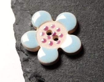 Ceramic Button Flower Shape Light Blue With Pink Polka Dots