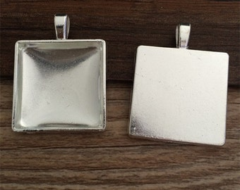5set  25mm Silver Plated  Square Pendant Trays with Glass Cabochons