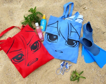 Free! Haru and Rin anime Tote bag in Blue and red.