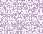Riley Blake Damask Fabric/White on Lavender/Cotton Sewing Material/Quilt, Clothing, Craft/Fat Quarter, Half Yard, 1 Yard, By the Yard