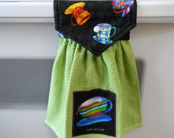 COFFEE, Beautiful, hanging kitchen towel for the coffee lover in the house. Has  top that snaps over an appliance.