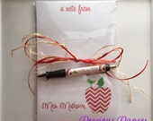 Personalized red chevron apple pen and note pad apple note pad and Pen set Teacher note pads teacher pens