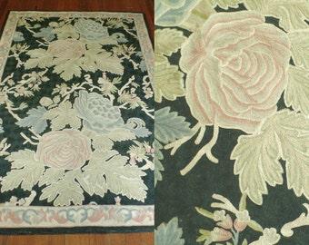 Vintage Hand Hooked Wool Rug, Black Floral Hooked Rug, Area Rug, Oriental floral Rug, 4x 6 Ft rug