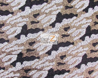 "Abstract Sequins Nylon Mesh Fabric - BLACK/GOLD/WHITE - 52""/54"" Width Sold By The Yard"