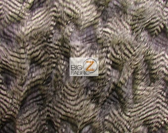 """Faux Fake Fur Feathered Bird Long Pile Fabric - OLIVE - Sold By The Yard 62"""" Width Sold By The Yard"""