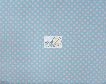 """100% Cotton Fabric - Polka Dot Light Blue/White - 45"""" Wide By The Yard (FH-1765)"""
