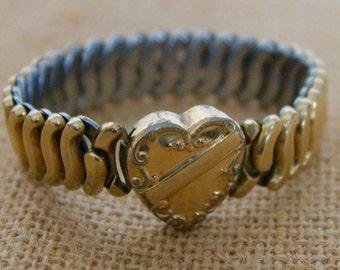 Vintage Sweetheart Bracelet, Gold Filled Heart Bracelet, Expansion Bracelet, Circa 1940's