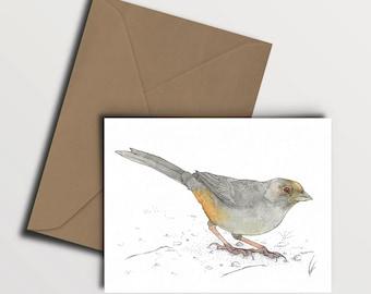 California Towhee Card - (4.25x5.5'') with kraft paper envelope