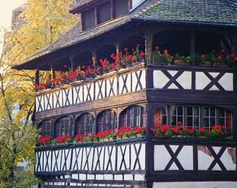Flowered Fachwerkhaus, France Photography, Red, Travel Photography, Art Print, Wall Decor