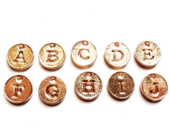 26 Rose Gold Plated Alphabet Charms A to Z - 21-1-5