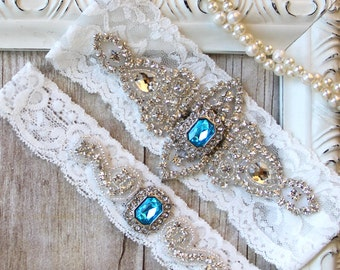 Garter Set - Customizable Wedding Garter w/ toss - Turquoise Blue Garter, Something Blue, Crystal Garters, Bridal Garter, Rhinestone