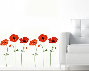 Poppy Stencil, poppies stencil, floral stencils, floral wall décor, painting stencils, wall stencils, art craft