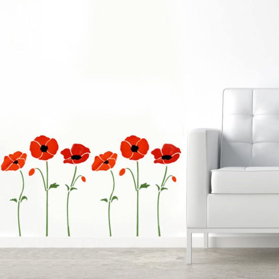 Poppy stencil poppies stencil floral stencils floral wall Design patterns wall painting