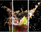 Framed Huge 3-Panel Cold Cocktail Drinks Canvas Art Print - Ready to Hang