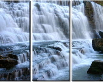 Framed Huge 3-Panel Waterfall Stream River Canvas Art Print - Ready to Hang
