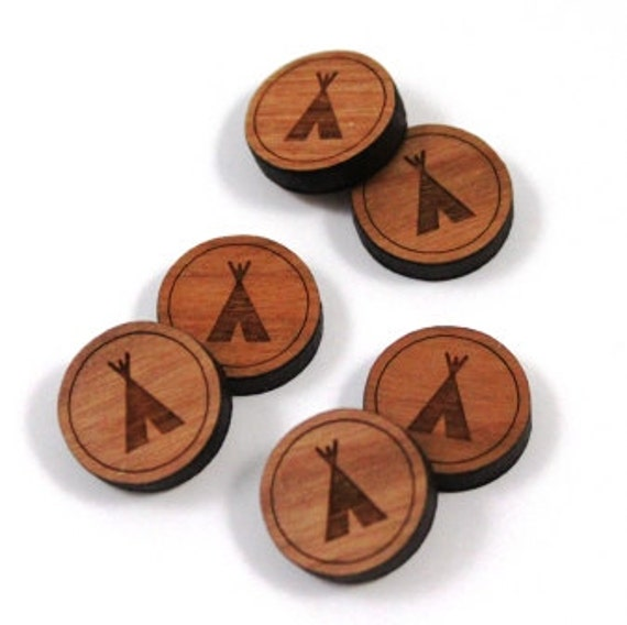 Laser Cut Supplies-8 Pieces.Tee Pee Charms - Laser Cut Wood Tee Pee -Earring Supplies- Little Laser Lab Sustainable Wood Products