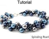 Beading Tutorial Pattern Bracelet Necklace - Spiral Stitch - Simple Bead Patterns - Spiraling Pearls #349